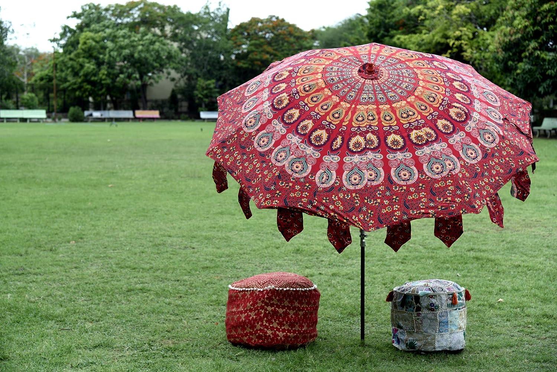e7e04671057f Amazon.com : HANDICRAFT-PALACE Indian Garden Umbrella Sun Shade ...