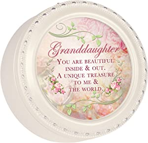 Cottage Garden Granddaughter Glossy Ivory Finish Round Jewelry Music Box - Plays Song You are My Sunshine