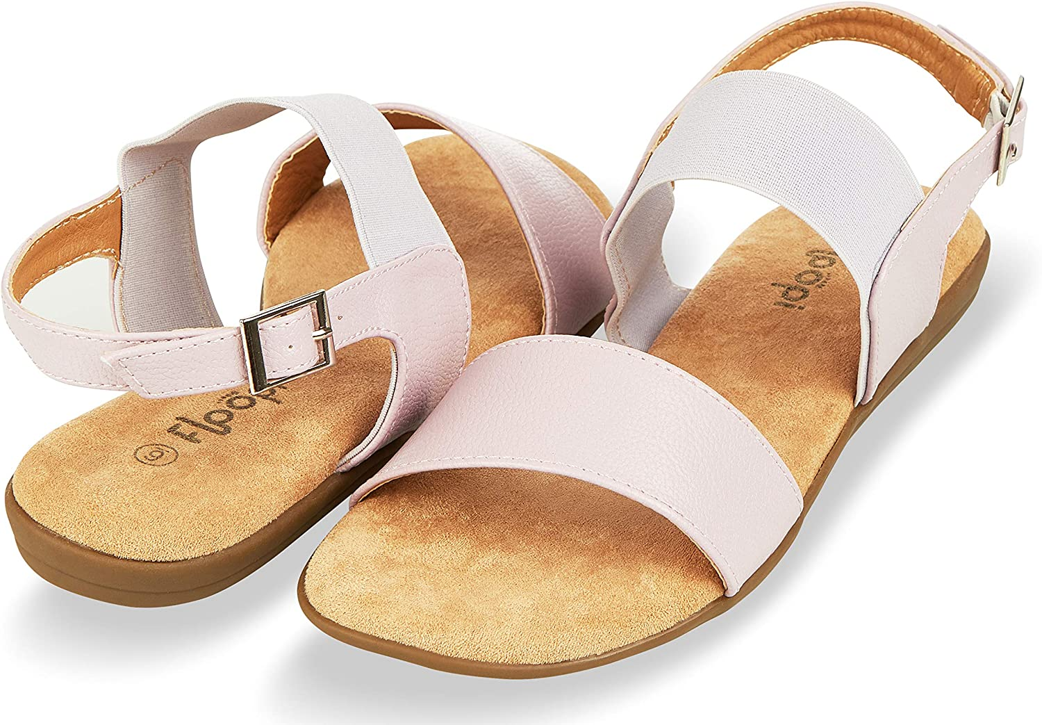 Floopi Summer Sandals for Women | Cute, Open Toe Sandals| Comfy, Wide Elastic & Faux Leather Ankle Straps W/Buckle Design, Flat Sole, Memory Foam Insole
