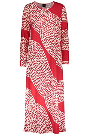 Nanso Long Dress langes Nachtkleid Nachthemd M (38-40) Rot/Weiss ...