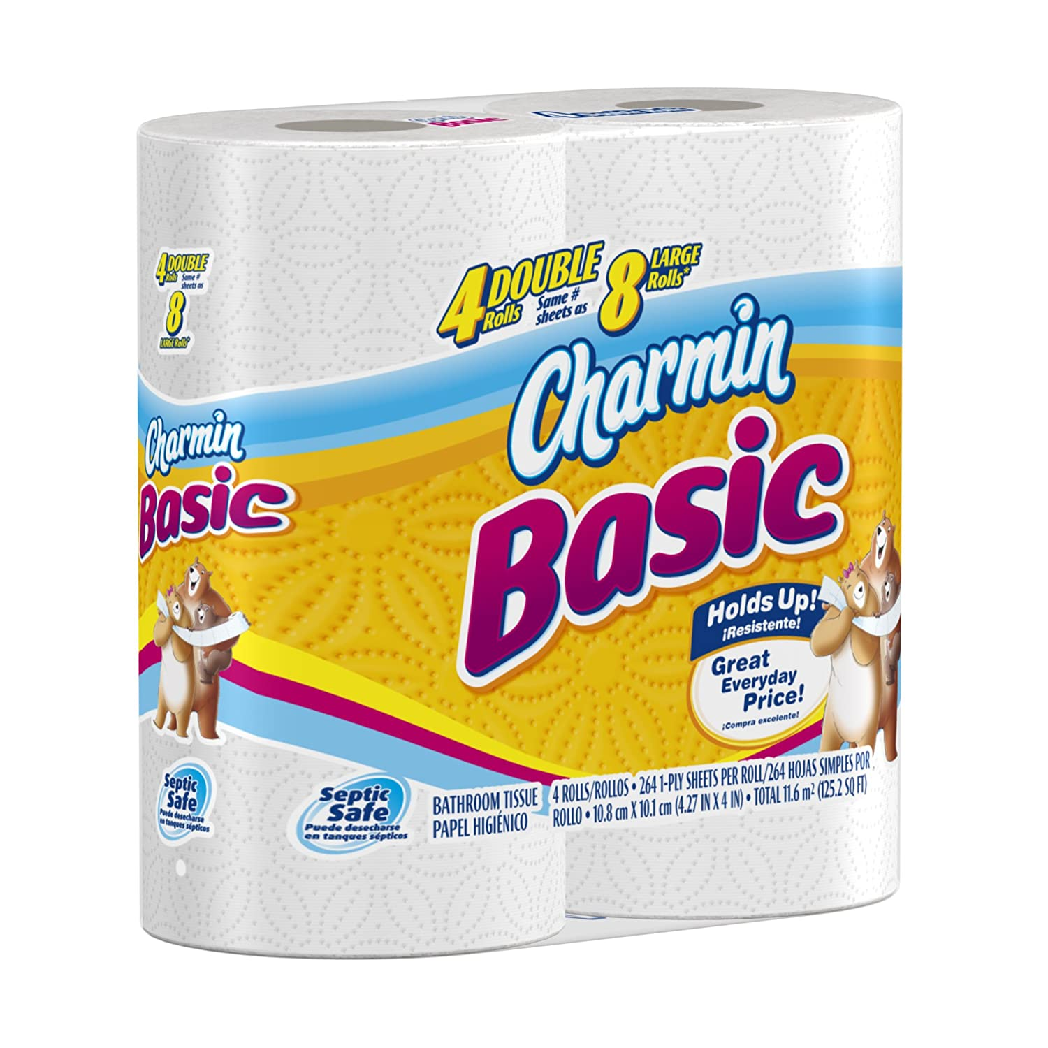 Amazon.com: Charmin Basic Toilet Paper, 4 Double Rolls (Pack of 10 ...
