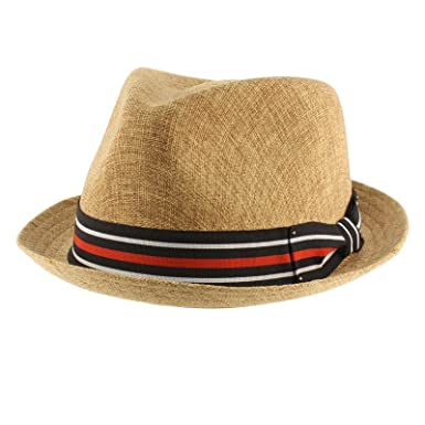 2ebe0459fa6 SK Hat shop Men s Sharp Summer Lightweight Linen Derby Fedora Upturn Brim Hat  S M