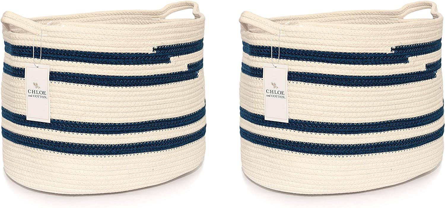 Chloe and Cotton Woven Fabric Cube Storage Baskets 13 X 13 | Rope Cubby Storage | Kids Laundry Hamper Dog Toy Basket Large Storage Organizer Bin - Navy White