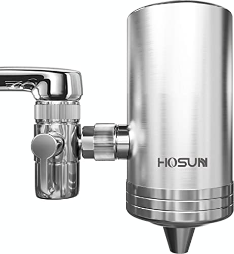 HOSUN Faucet Water Filter,New SUS304 Stainless Steel Water Purifier,Water Filter Faucet Reduces Chlorine Reduces Lead