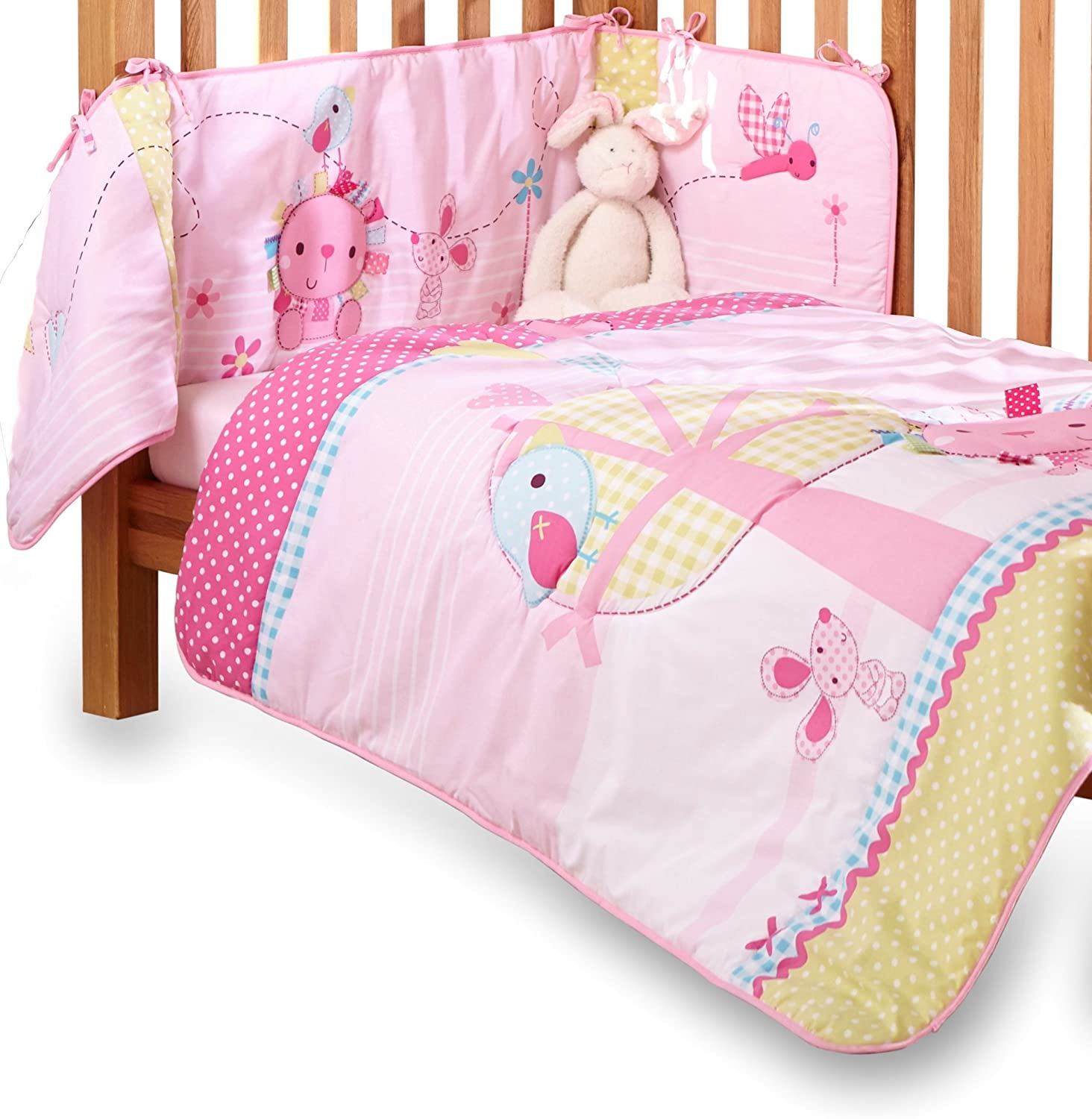 Clair de Lune Lottie & Squeek Cot/ Cot Bed Quilt and Bumper Bedding Set (Pink) CL5000