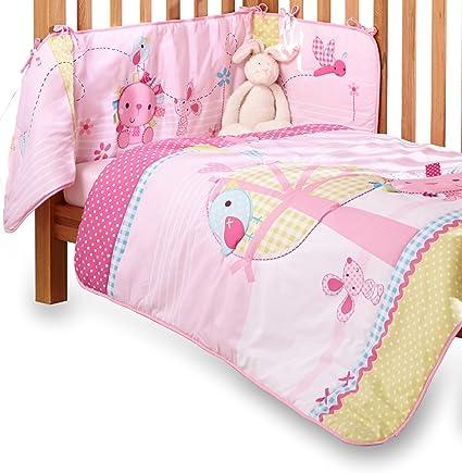 d2d0b7c1eff2a Clair de Lune Lottie   Squeek Cot  Cot Bed Quilt and Bumper Bedding Set  (Pink)  Amazon.co.uk  Baby