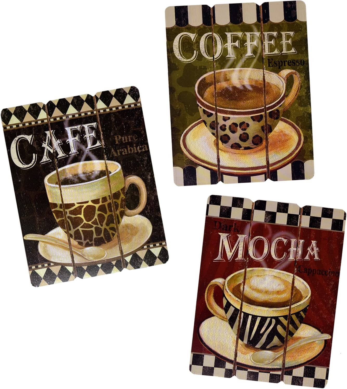 Coffee House Cup Mug Cafe Latte Java Mocha Wooden Hanging Wall Art Home Decor