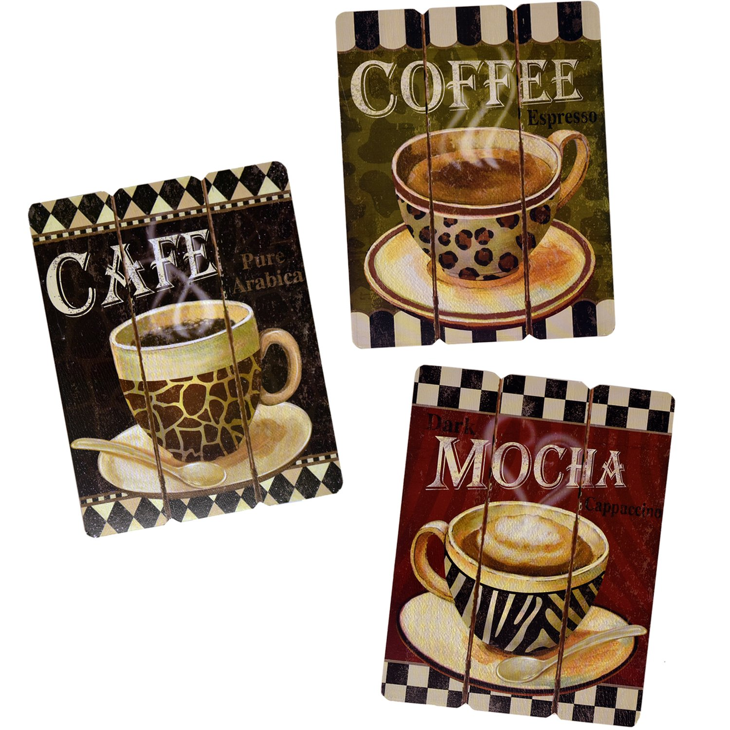 Three Piece Retro Coffee Art Set