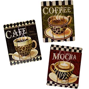 Coffee House Cup Mug Cafe Latte Java Mocha Wooden Hanging Wall Art Home Decor, Set of 3 Modern Paintings For Office Bedroom Kitchen Living and Dining Room Accessories