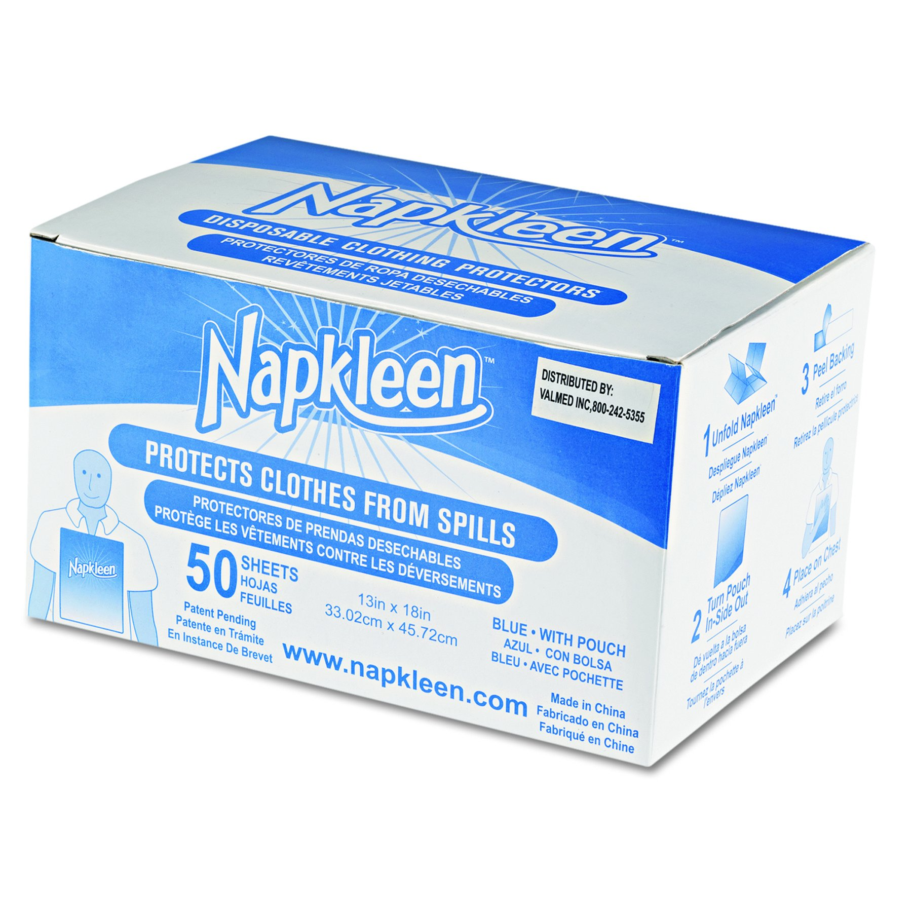 Medline VLMP8101 Napkleen Disposable Bibs, 2-Ply Tissue, 1-Ply Poly, 13'' x 18'', Limited Blue (Pack of 600)