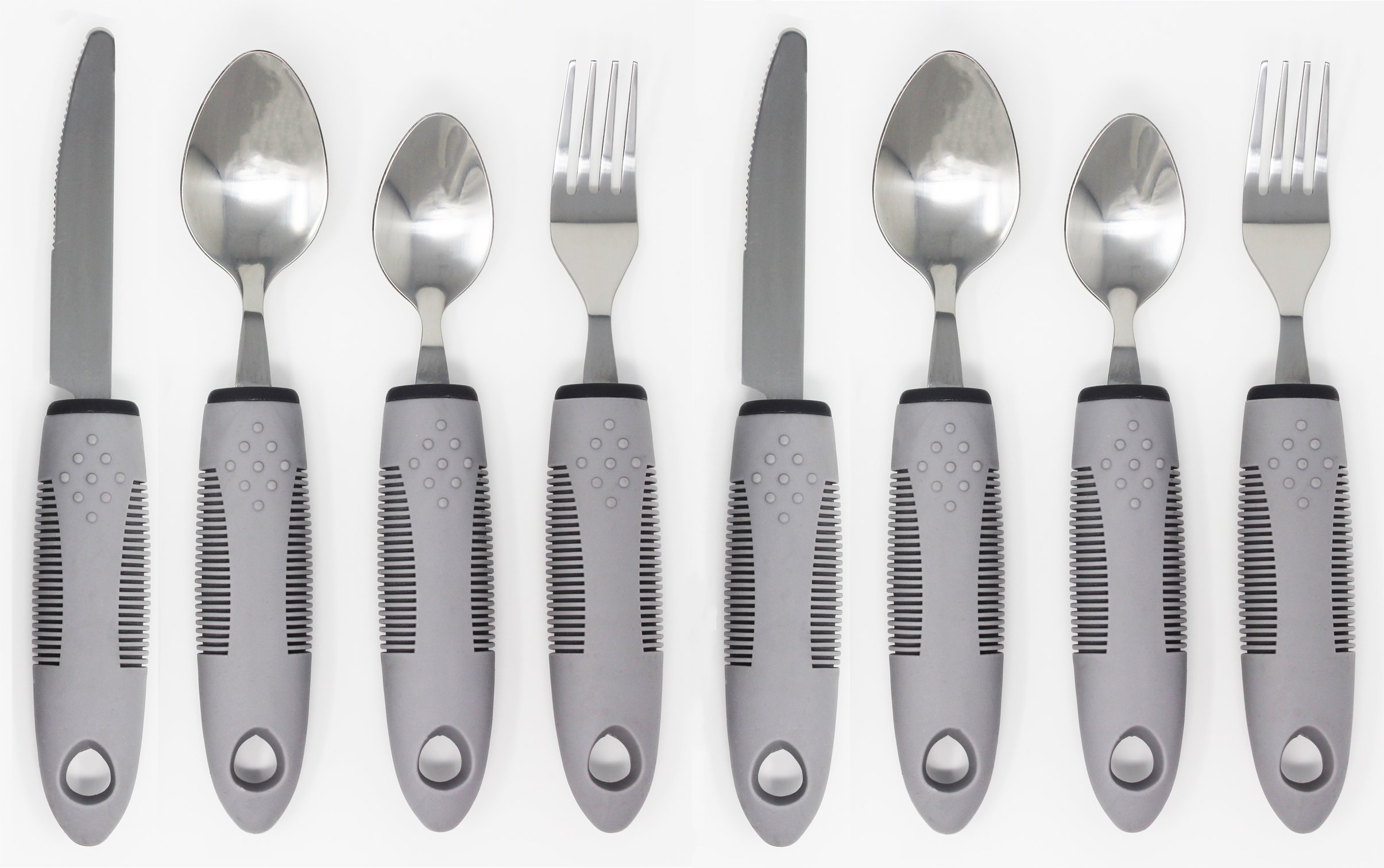 Adaptive Utensils (8-Piece Kitchen Set) Wide, Non-Weighted, Non-Slip Handles for Hand Tremors, Arthritis, Parkinson's or Elderly use | Stainless Steel Knife, Fork, Spoons (Gray - 2 Sets)
