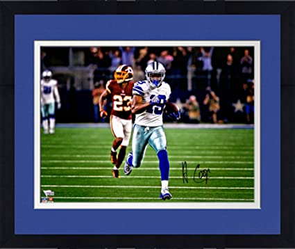"""f1e0ce84f05 Framed Amari Cooper Dallas Cowboys Autographed 16"""" x 20"""" White  Jersey Running Photograph -"""