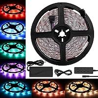 Ruban Led, Bande LED, Soulcker Bande LED 5m 5050 Lumière RVB avec 150 LEDs, Commande Vocale, Alimentation D'énergie DC 12V, Imperméable Pour Décoration Plafond Maison Partie