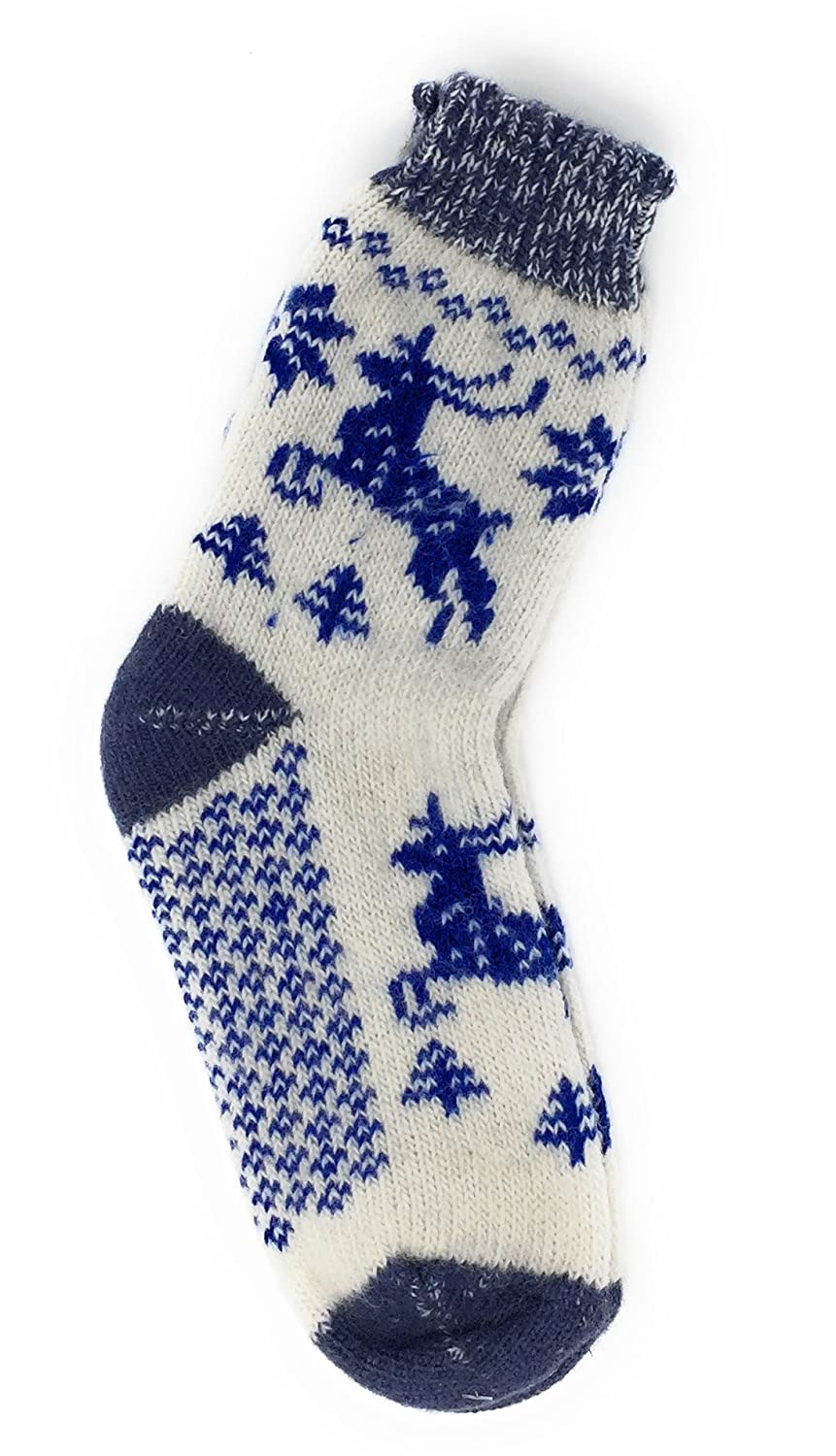 Lambswool Reindeer Design Socks for Teens and Mums by Granny's Knitwear Granny' s Knitwear