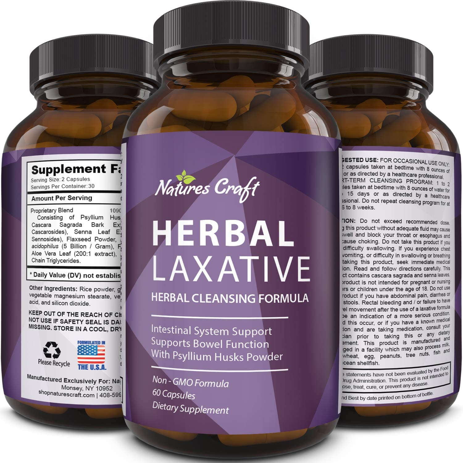 Natures Craft s Herbal Laxative Capsules with Probiotics Natural Colon Detox Digestive Support System Clean Psyllium Husk Powder Senna Leaf Cascara Sagrada Triple Herb Cleanse Pills