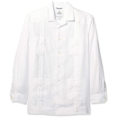 Brand - 28 Palms Men's Relaxed-Fit Long-Sleeve 100% Linen 4-Pocket Pleated Guayabera Shirt: Clothing