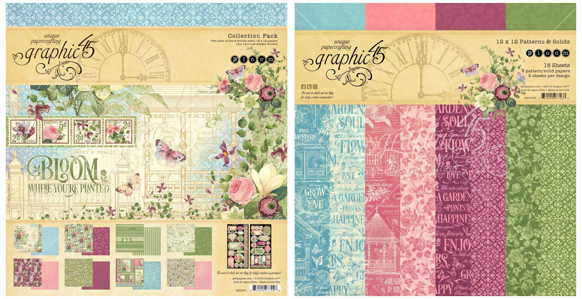 Graphic 45 - Bloom Collection Pack and Bloom Patterns & Solids Paper Pad - 12 x 12 Inch Decorative Papers - 2 Items