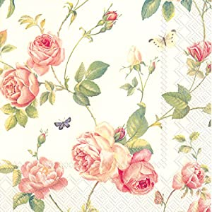 Celebrate the Home New Rambling Rose 3-Ply Paper Luncheon Napkins, Cream, 20 Count