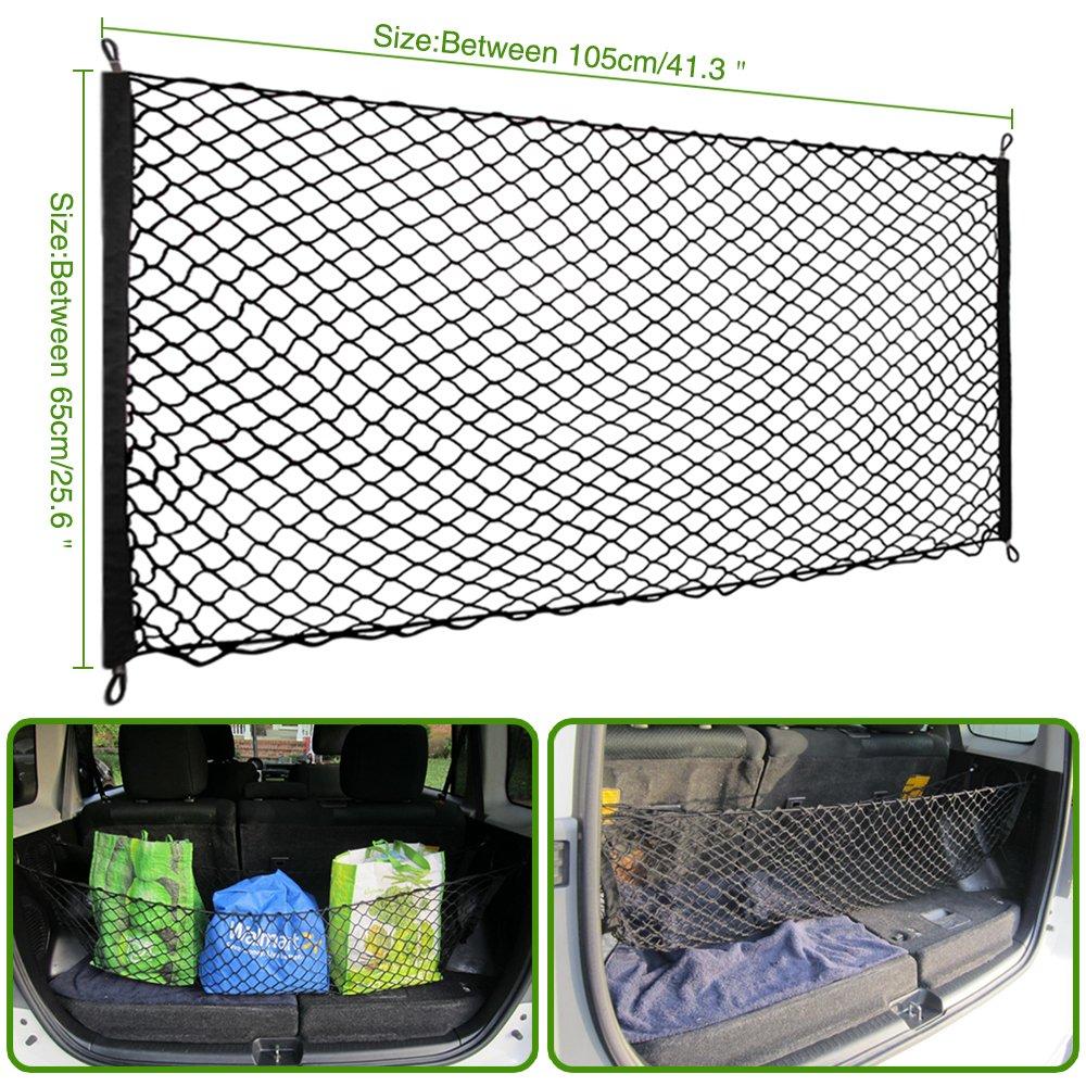 105 X 65 cm rete bagagliaio per Tettuccio Elastica Portapacchi Rete Nera Elastica Premium Corda per Bagagli Copertura in Rete con ganci regolabili TOPDECO