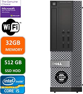 Dell Optiplex 7020 Desktop Computer, Intel Quad-Core i5-4570-3.2GHz, 32 GB RAM, 512GB SSD HDD, DVD, USB 3.0, WiFi, HDMI, Windows 10 Pro (Renewed)