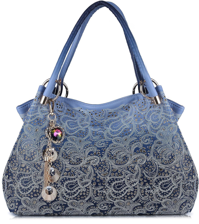 07f98e7eae78 Amazon.com  Tinksky Classic Fashion Tote Handbag Leather Shoulder Bag  Perfect Large Tote Ls1193 (blue)  Shoes