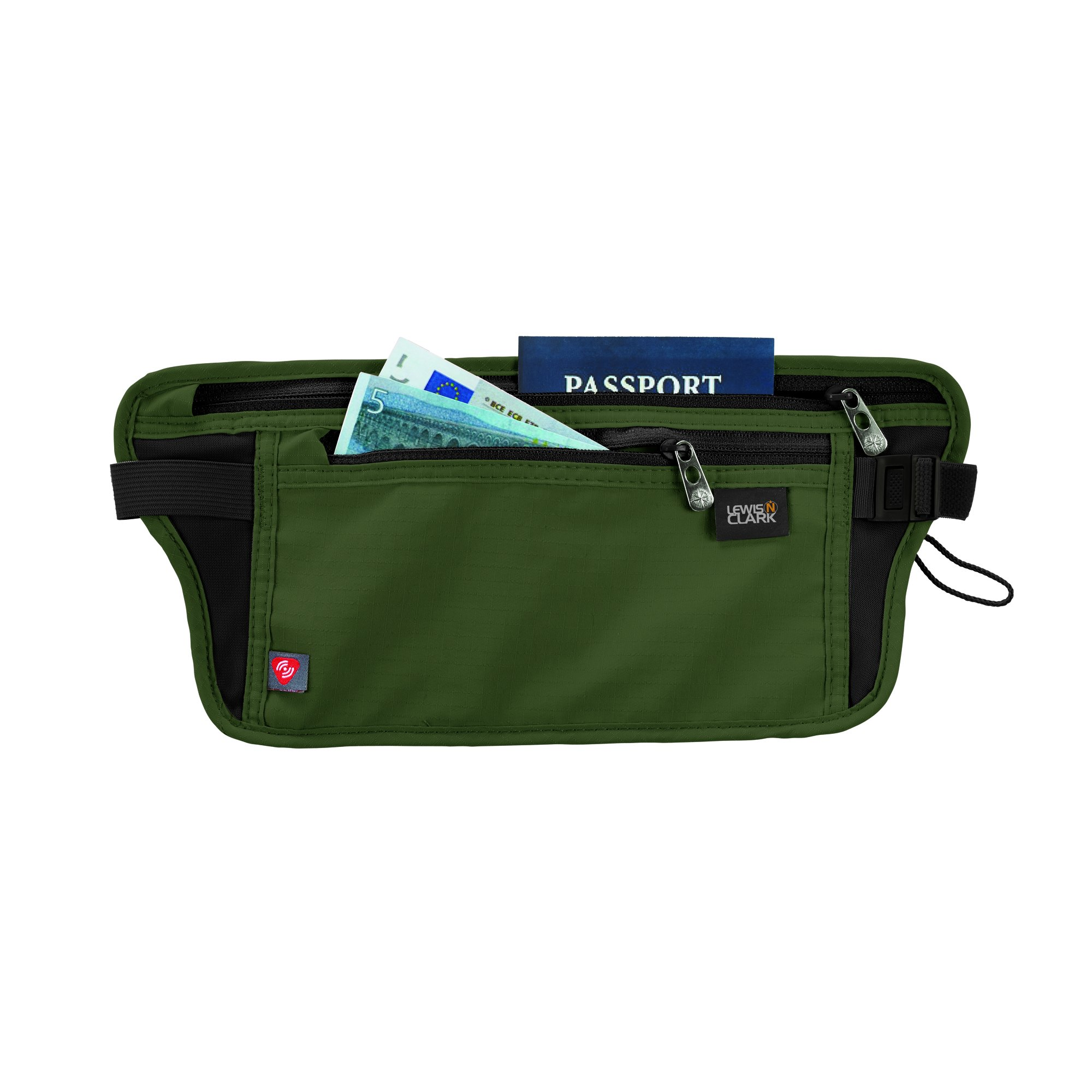 Lewis N. Clark Rfid-Blocking Stash Anti-Theft Hidden Money Belt Waist Pack, Olive, One Size