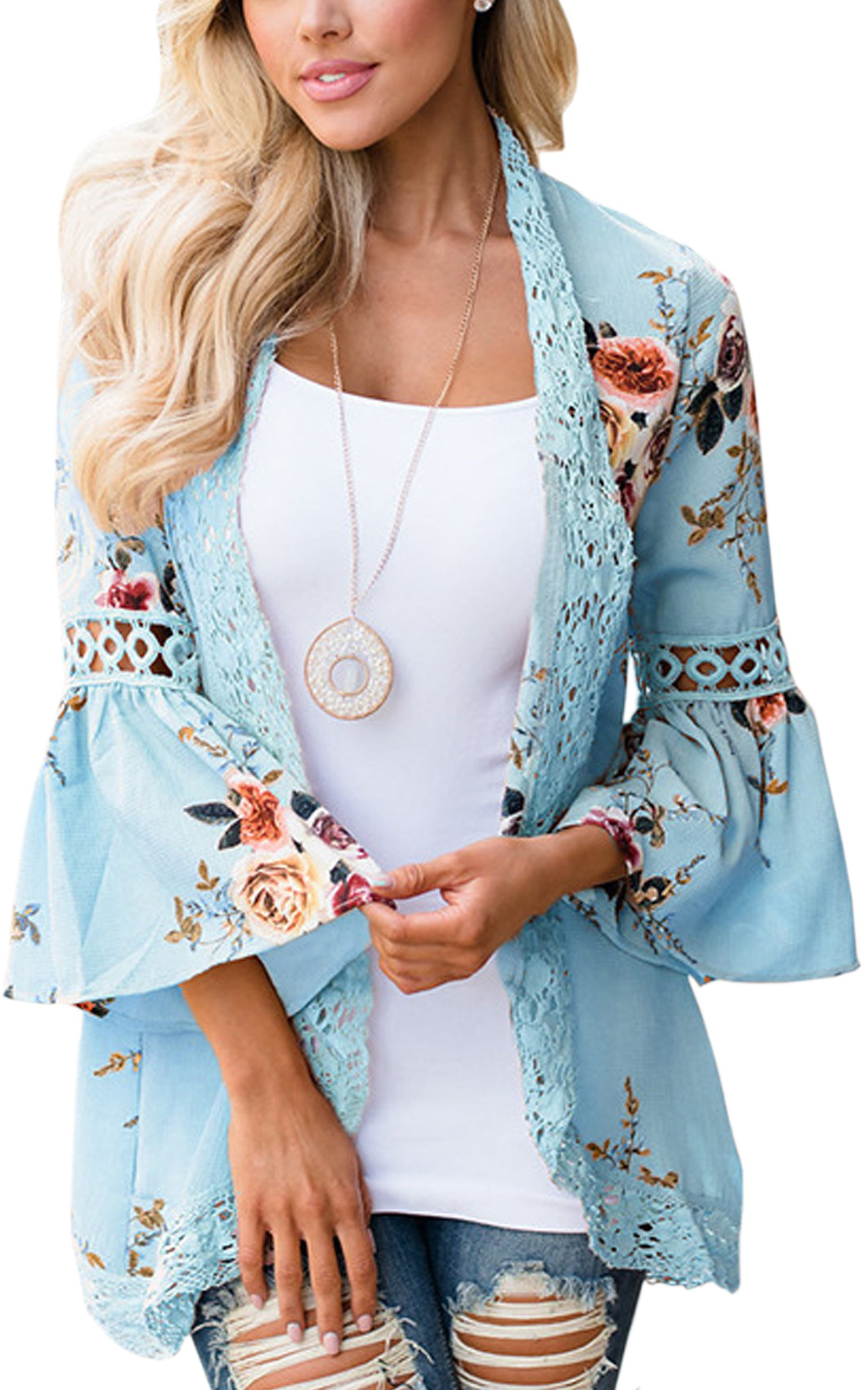 ECOWISH Womens Floral Print Loose Puff Sleeve Kimono Cardigan Lace Patchwork Cover up Blouse Blue L