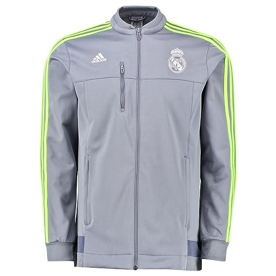 Adidas Real Madrid CF 2015 16 Chaqueta de Himno  Color Gris  - ADID 9e8665abd50ba