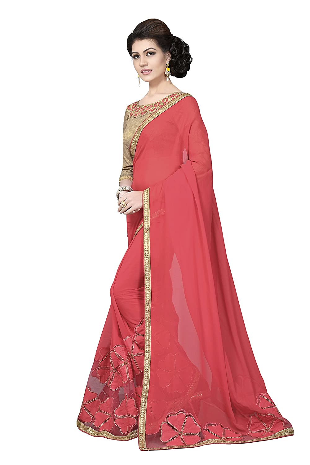 f96ef470b5 Palav Women's Chiffon Sarees Party Wear/Fancy Chiffon Sarees/Embroidered Chiffon  Sarees - Punch Pink: Amazon.in: Clothing & Accessories