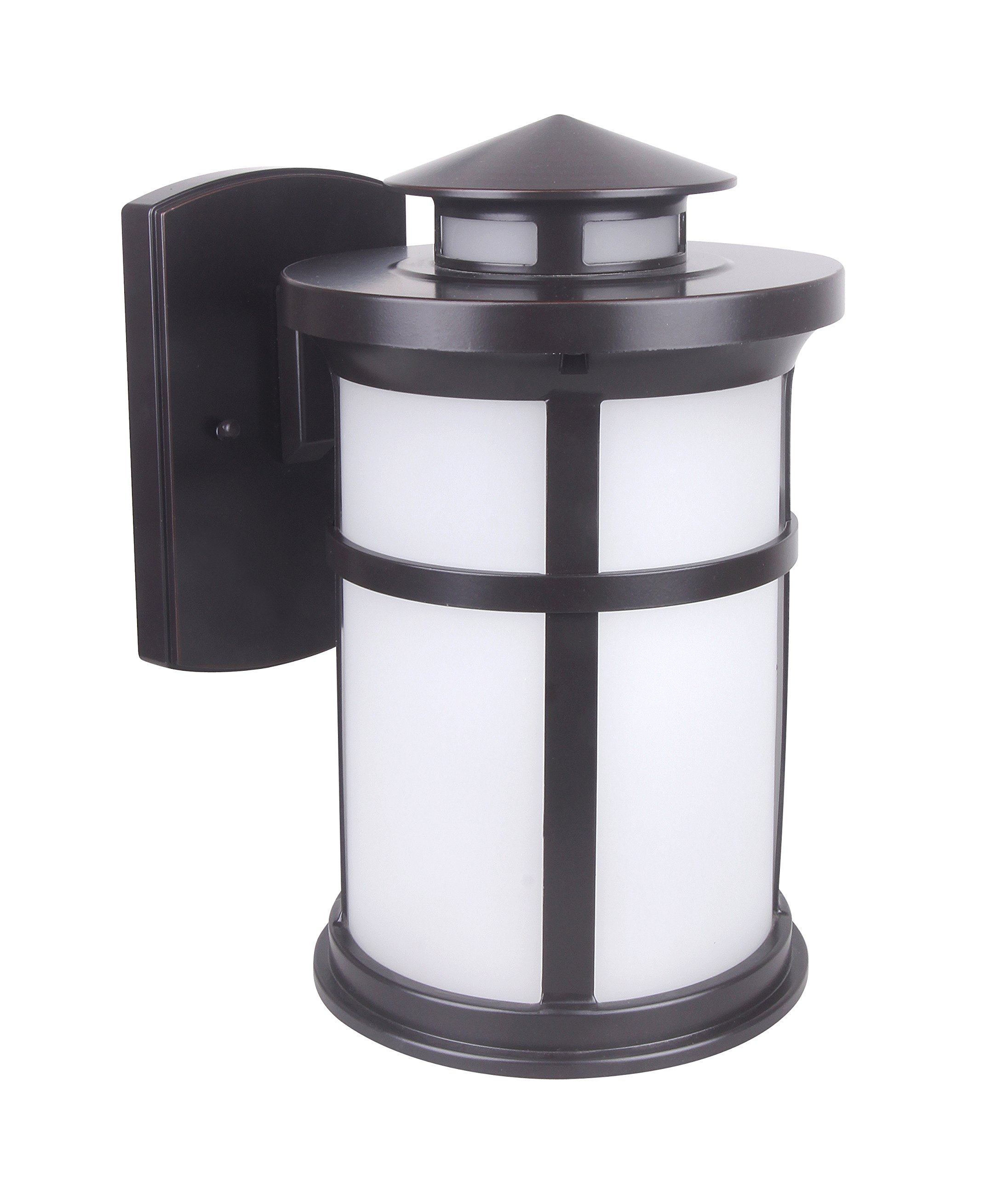 Lit-Path Outdoor LED Wall Lantern, Wall Sconce as Porch Light Fixture, 11.5W (100W Equivalent), 1050 Lumen, Aluminum Housing Plus Glass, Oil Rubbed Bronze, ETL and ES Qualified