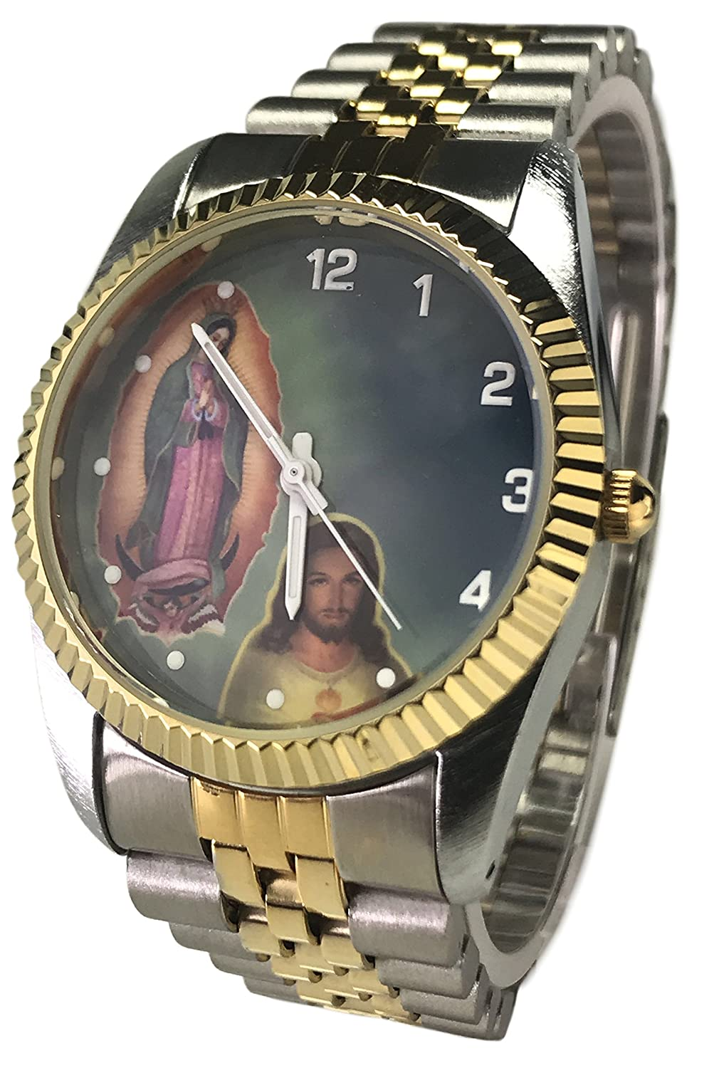 Amazon.com: Reloj de Hombre Swanson Japan Watch Mens Tow-Tone Day-Data With Jesus And Mary New Water Resistant: Watches