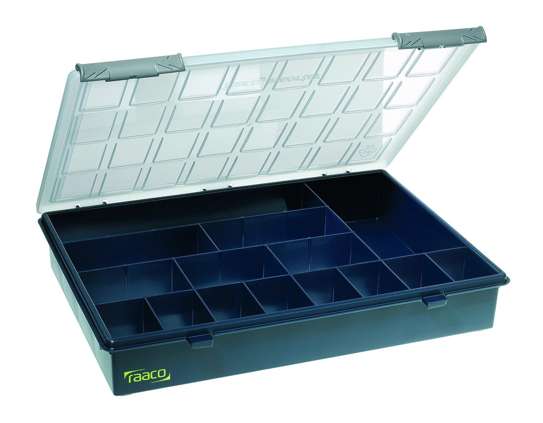 raaco 136174 Assorter 4-15 Rangement avec 15 Cases, Bleu