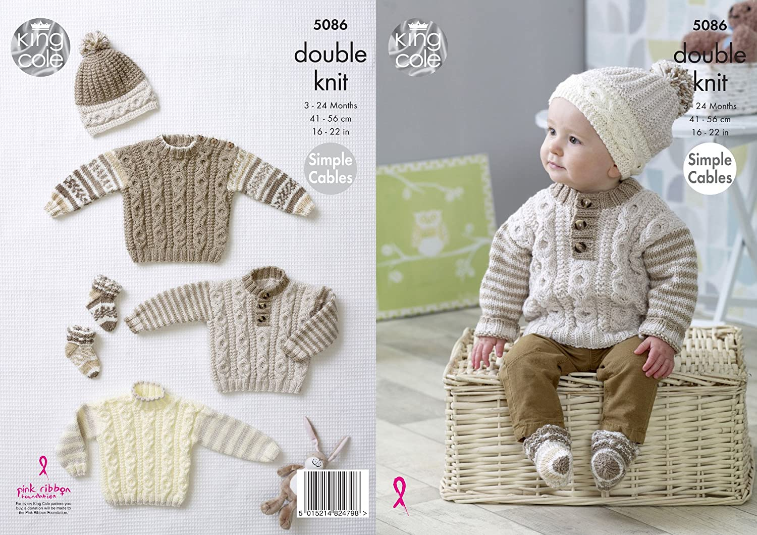 King Cole Baby Double Knitting Pattern Simple Cable Sweaters Hats ...