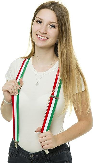 shenky - Tirantes con forma de Y con 3 clips - Bandera de Italia: Amazon.es: Ropa y accesorios