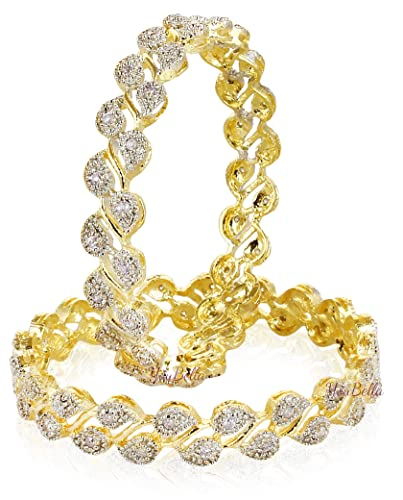 732ea25f5f18b9 YouBella Traditional Jewellery Gold Plated and American Diamond Bangle Set  for Women (White)(