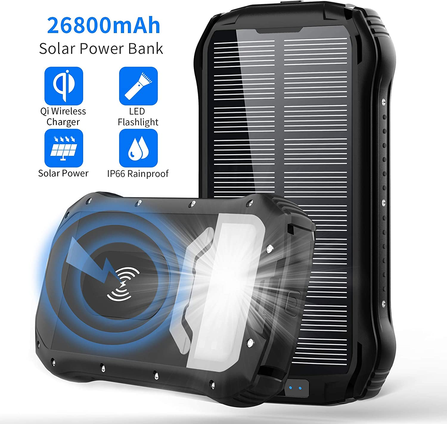 Solar Charger 26800mAh, Qi Wireless Portable Solar Power Bank with 4 Outputs Dual Inputs Type-C, Waterproof External Backup Battery Pack with 18 LED Flashlight for Smart Phone,Tablets, Outdoor