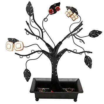 Amazoncom 12Inch Earring Holder Stand with Ring Dish Tray Black