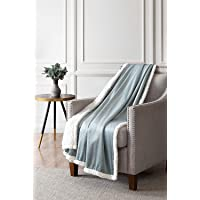 """Bourina Sherpa Fleece Throw Blanket Printed Super Soft Fuzzy Reversible Plush Blankets for Bed Sofa, 50"""" X 60"""""""