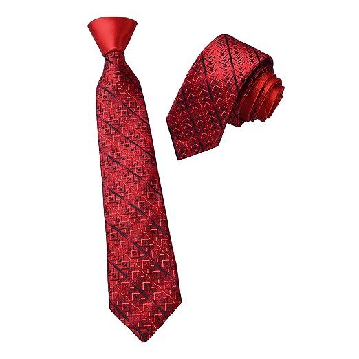 Sunvan Mens Designer Formal Casual Wear Neck Tie Red With Black