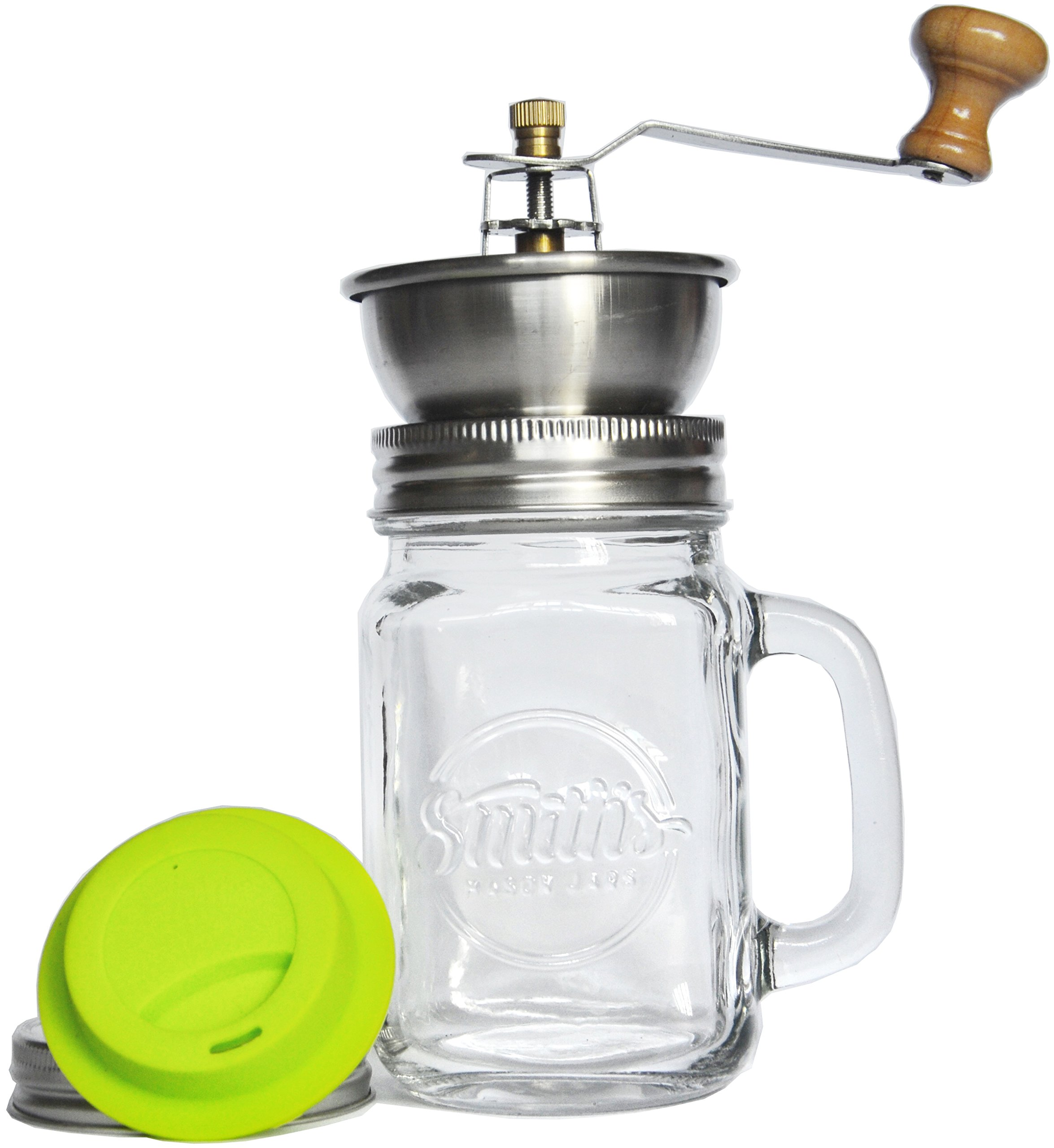 Smith's Mason Jar Coffee Mug with Ceramic Grinder with Silicone Drinking Lid - Amazing Manual Adjustable Coffee Grinder