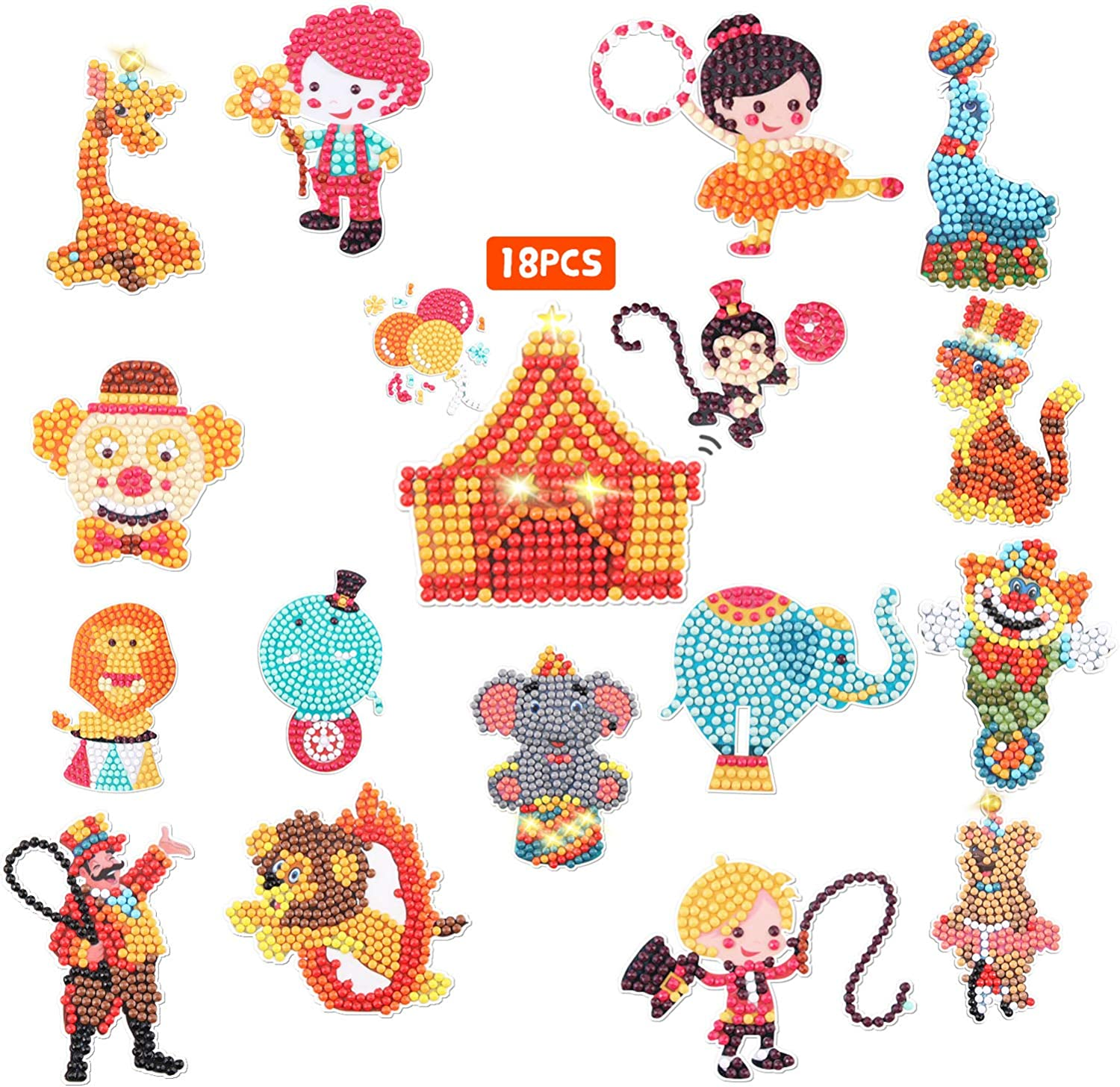 EGV Diamond Painting Sticker Kits for Kids, Circus Animal Diamond Art Mosaic Stickers by Numbers Kits Craft - Easy to DIY, 5D Diamond Dotz Stickers for Boys and Girls - 18 Pieces