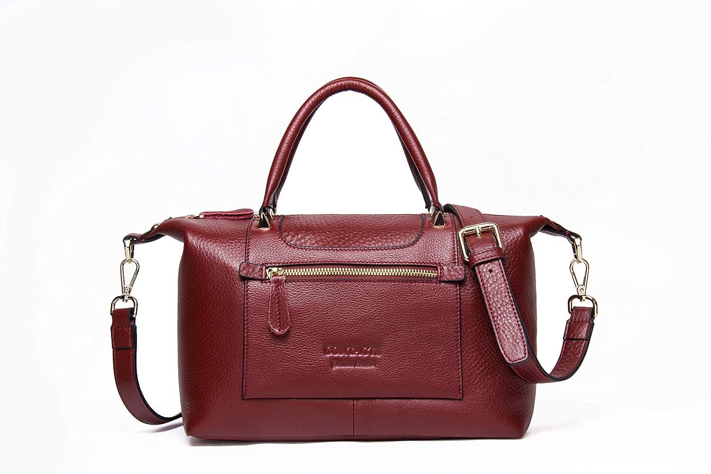 HIRAM Women's Genuine Leather Shoulder Bag with Adjustable Shoulder Strap, Waterproof and WearResisting (Red)