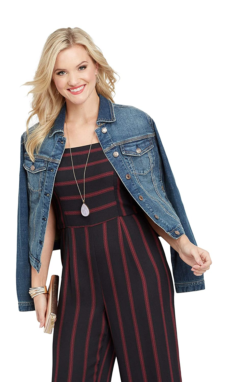 d255149719c maurices Women s Velvet Strap Stripe Jumpsuit X Large Black Combo at Amazon  Women s Clothing store
