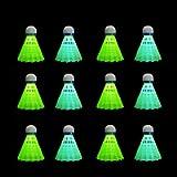 HIRALIY 12 Pack LED Badminton Shuttlecocks Birdies Lighting Nylon Shuttlecocks Glow in The Dark for Backyard Family Game…