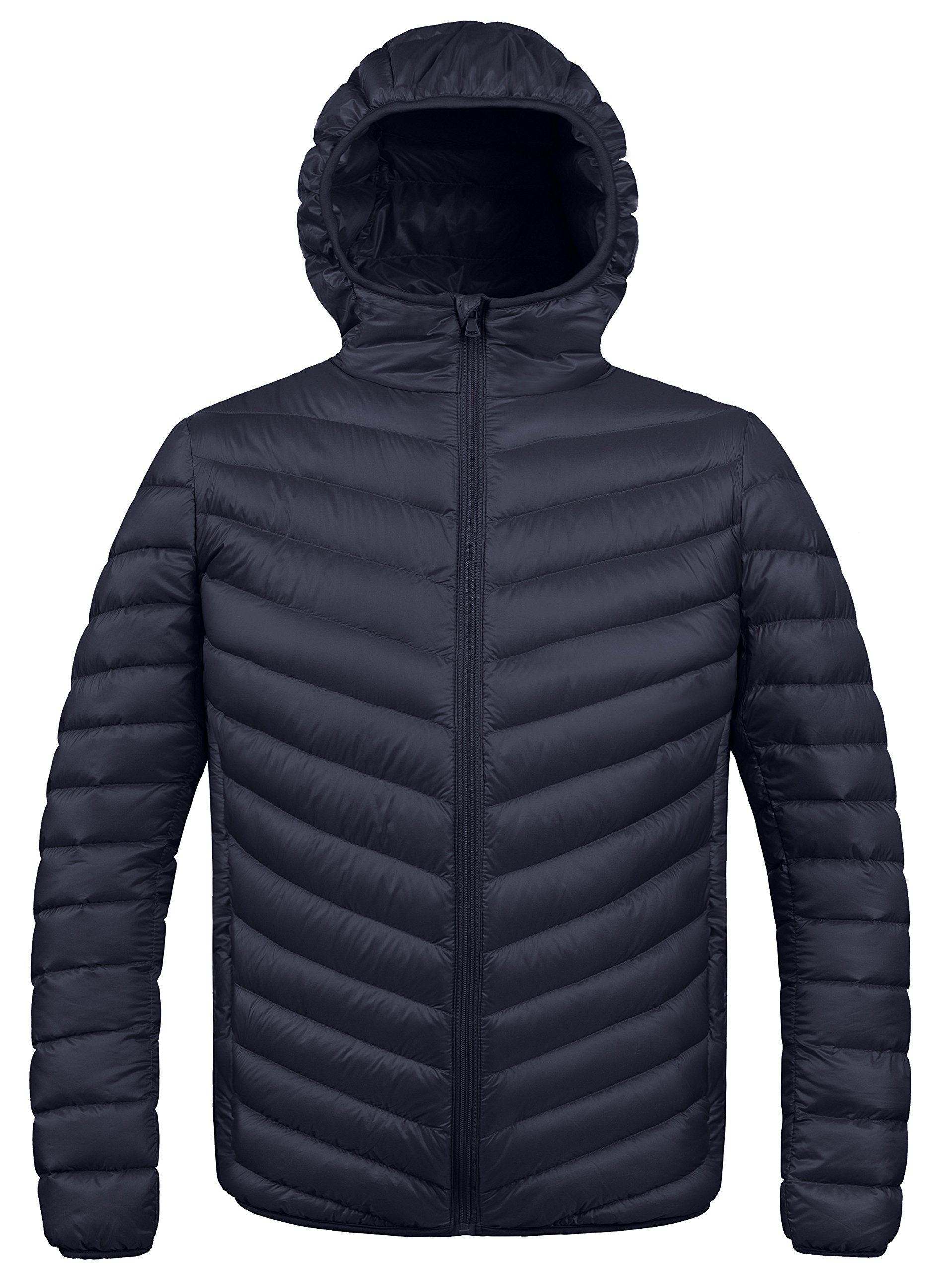 ZSHOW Men's Winter Hooded Packable Down Jacket(Black,Medium)