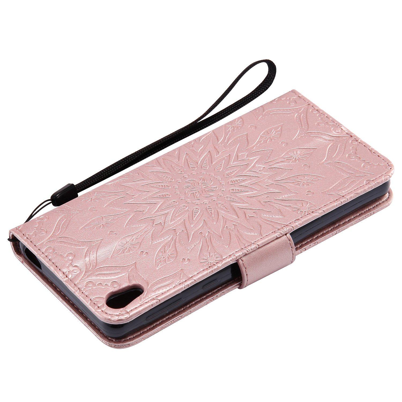 Schutzh/ülle f/ür Sony Xperia E5 H/ülle Briefcase Flip Cover Case BriefTasche h/ülle Schutz-H/ülle Klapph/ülle R/ückseite Stand und Karte Halter Magnet Sonnenblume,Rosengold