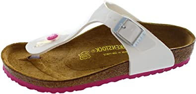 5491cb2c41a2 Birkenstock Girls in White Birko Flor Pink Sole (30 N EU)