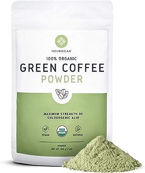 Neurogan Organic Green Coffee Bean Powder Extract with Ingredients to Help Support Normal Weight Loss - 7oz / 200g, Maximum Strength Chlorogenic Acid - 100% Organic, Non-GMO, Vegan Friendly