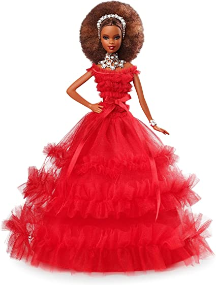 2018 Holiday 30th Anniversary Barbie Doll African American Red Dress
