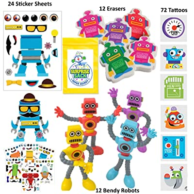 120 Pc Robot Birthday Party Favors for Kids Pack (Great for Goodie Bags For Kids Birthday, Return Gifts For Kids Birthday, Boys Party Favors, Robot Party Supplies & Robot Stocking Stuffers): Toys & Games